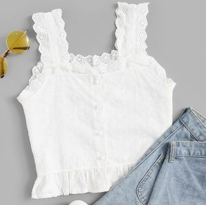 Tops - NWT Embroidered Ruffle Hem Button Front Cami